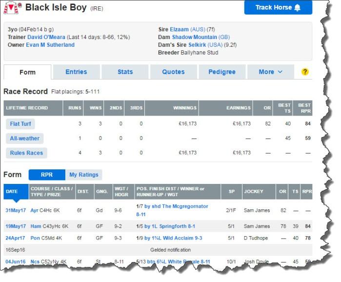 Black Isle Boy form profile